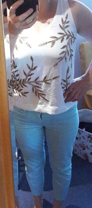 Bluse Top T-Shirt Hemd Oberteil Shirt Perlen NEU Vero Moda M 38 NEU weiß gold