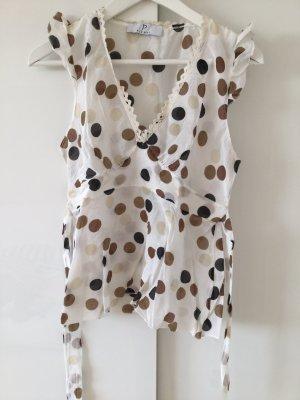 Bluse/Top, weiß-beige mit Punkten