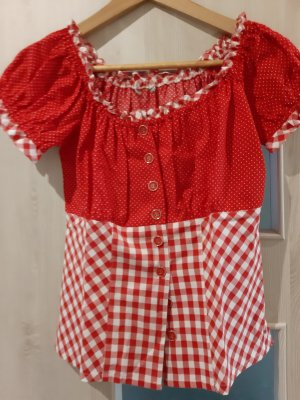 Bluse Trachtenbluse weiß rot Carmenstyle