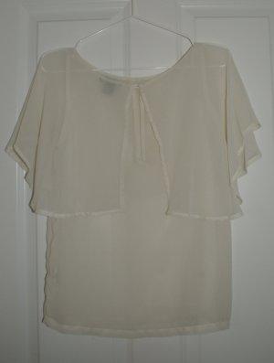 Bluse transparent creme/elfenbeinfarben H&M Größe 34