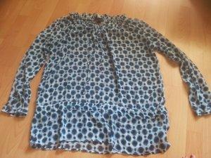 Bluse Tunika blau schwarz weiß Punkte Flecke Gr. XXL