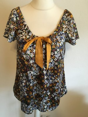 Bluse Tunika Blusenshirt Shirt Blumenmuster Carmen mit Schleife süss Gr. S