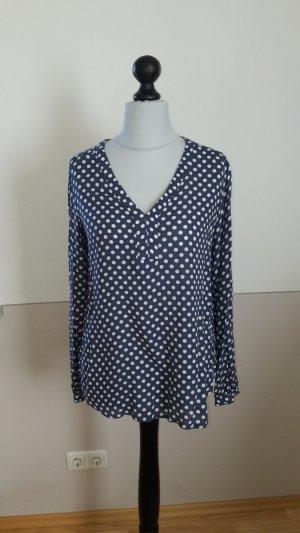 Bluse * Tunika * Dots * Punkte * 38 *V-Ausschnitt * Blau * Weiß * Viskose *