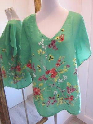 Bluse Tunika Grün #Asia Style Geblümt  Gr M/L