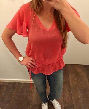 Bluse Tunika Guess lachsfarben Hüftband locker kurzärmlig durchsichtig Oberteil