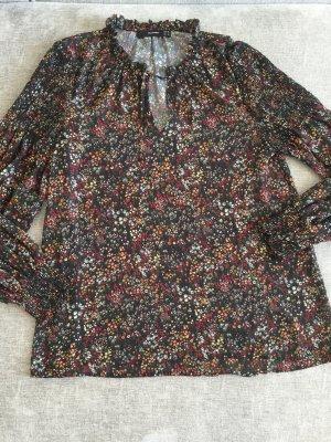 Bluse Tunika im Boho look Hallhuber Gr 38 schwarz mit Blumen