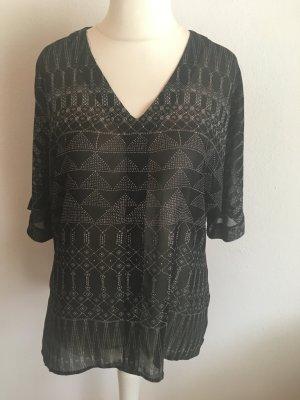 Bluse Tunika locker oversized schwarz weiß gemustert boho Gr. 36