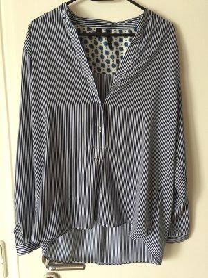 Bluse Tunika Oberteil Shirt blau weiß Mango Gr.L top