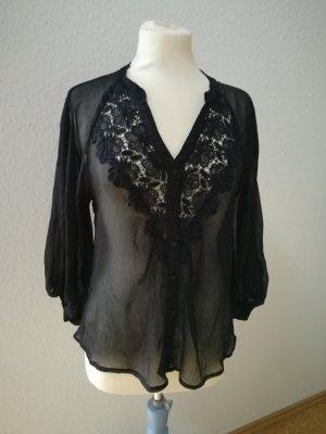 Bluse Tunika schwarz Spitze verspielt Vero Moda