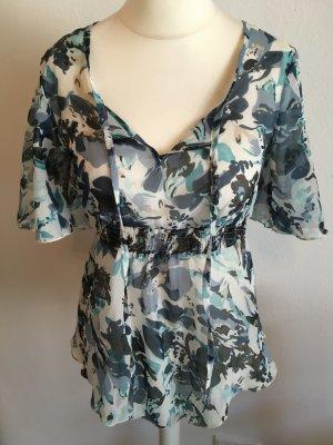 Bluse Tunika Shirt leicht blau Blumenmuster Sommer Gr. S