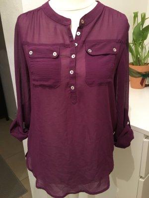 Bluse Tunika Shirt oversized lila weinrot Gr. 34