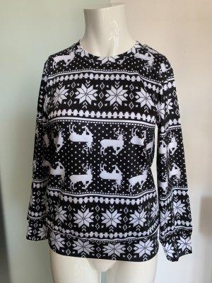 Bluse Tunika Shirt Stretch Gr 38 40 L schwarz-weiß