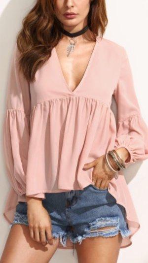 Bluse Tunika V Ausschnitt vokuhila 36 S rosa