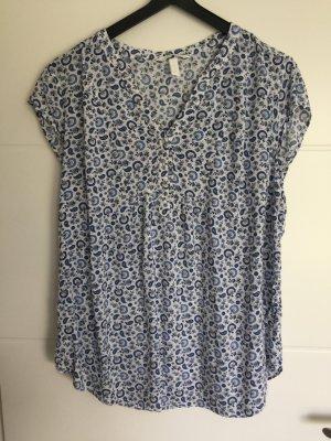 H&M Tunic Blouse white-cornflower blue