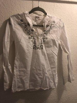 Bluse tunika weiss mit muster v ausschnitt