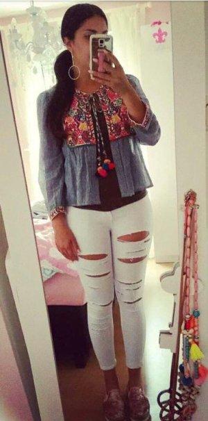 Bluse Tunika Zara S blau weiß gestreift Bommel Pom Pom blogger hipster boho