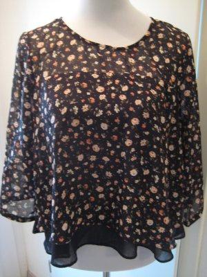 Transparante blouse zwart-lichtrood