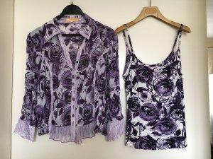 Biba Camicetta a blusa bianco-viola scuro