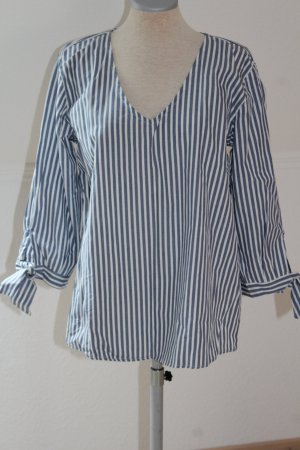 Blusa de túnica azul aciano-blanco Algodón