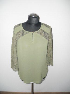 Bluse Vero Moda Gr. M khaki mit Spitze