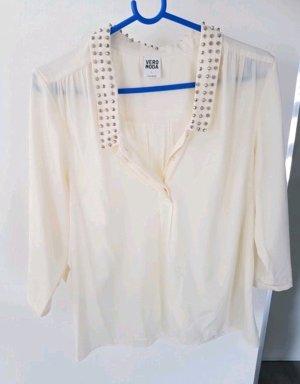 Bluse Vero Moda mit Nieten am Kragen creme Gr. L