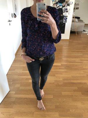 Bluse vila xs s 34 36 blau Hemd rot Punkte Oberteil Mode Fashion