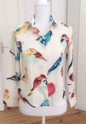 Bluse Vogelprint Vögel beige Creme Sommer Vintage 34 XS