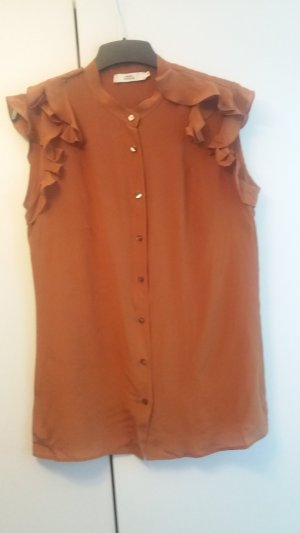 0039 Italy Blouse cognac-coloured silk