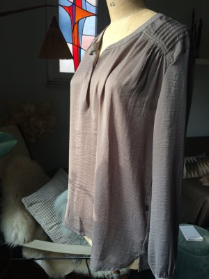 10 FEET Long Sleeve Blouse grey brown polyester