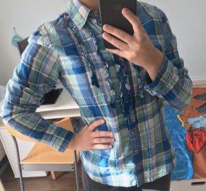 Abercrombie & Fitch Camicetta a maniche lunghe blu neon-bianco