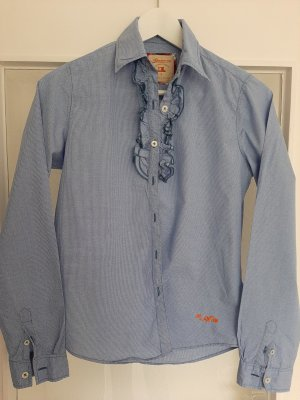 Adenauer & Co Checked Blouse white-steel blue