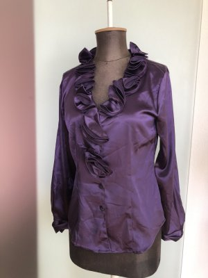 and Glanzende blouse donkerpaars