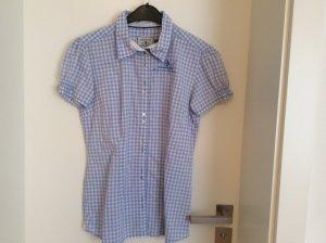 Arqueonautas Geruite blouse wit-azuur Katoen