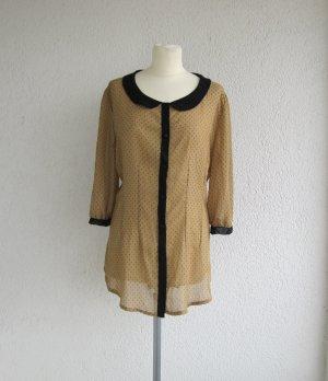 Atmosphere Transparante blouse zwart-donkergeel Polyester