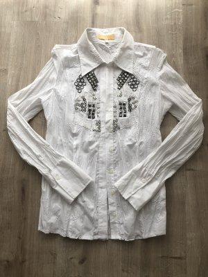 Biba Long Sleeve Blouse white-silver-colored