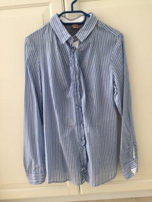 Bluse von Boss Orange Gr. 42 blau/weiß