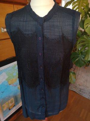 Bluse von Cream Gr. S blau mit schwarzer Spitze
