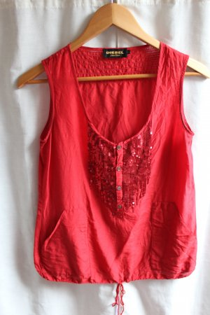 Diesel Camisa de mujer rojo ladrillo Seda