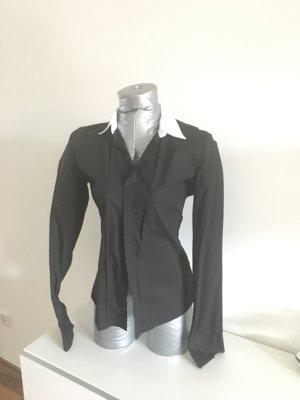 Bluse von Diesel, schwarz mit weißem Kragen, Gr. S