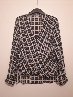 H&M Blusa cruzada blanco-negro Poliéster