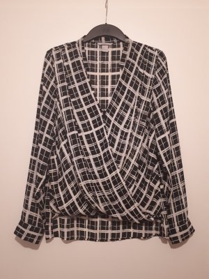 H&M Wraparound Blouse white-black
