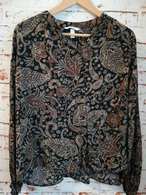 H&M Oversized Blouse bronze-colored-black cotton