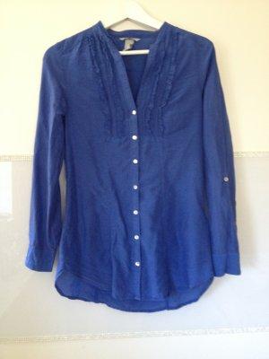 Bluse von H&M in blau mit Rüschen Größe XS