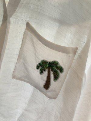 H&M Divided Blouse en lin blanc-vert forêt