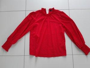 Hallhuber Blouse met opstaande kraag zwart-rood