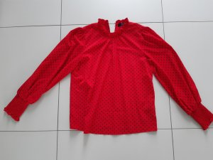 Hallhuber Blusa de cuello alto negro-rojo