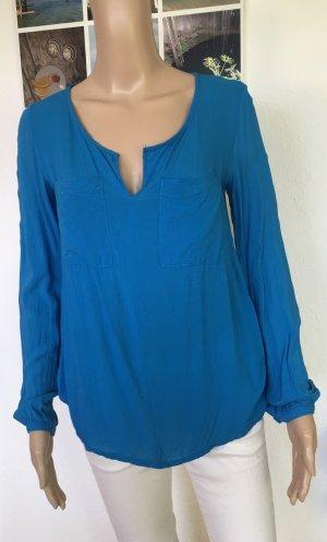 Slip-over blouse neon blauw