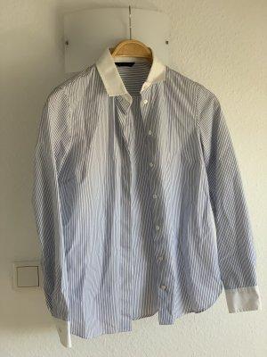 Massimo Dutti Blouse Collar white-dark blue