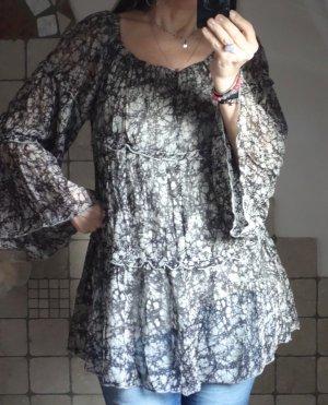 NÜ Denmark Carmen blouse grijs-bruin-donkerbruin Viscose