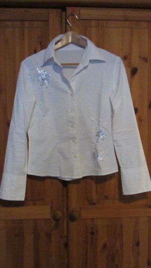 Bluse von Orsay, weiß mit Blumenstickerei und Pailetten - Gr. M